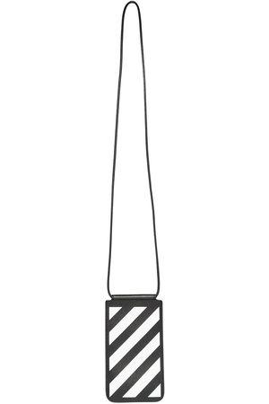 OFF-WHITE DIAG SAFFIANO NECK POUCH BLACK WHITE