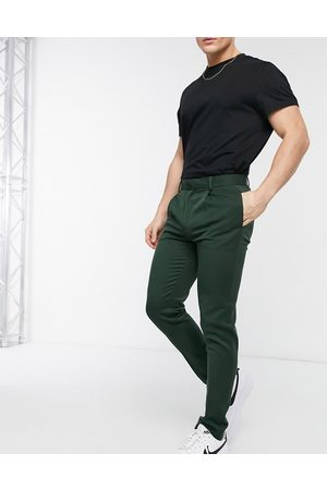ASOS Pantalones de vestir verdes de corte superpitillo de