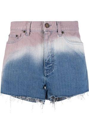 Saint Laurent Mujer Vaqueros - Pantalones vaqueros cortos con efecto sombreado