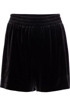Norma Kamali Mujer Pantalones cortos - Shorts de terciopelo de tiro alto