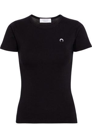 Marine Serre Camiseta de algodón estampada