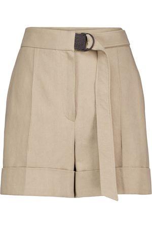 Brunello Cucinelli Shorts de algodón y lino adornados