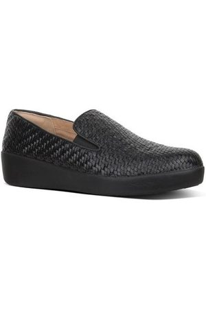 FitFlop Mocasines SUPERSKATE TM LOAFERS WOVEN LEATHER - BLACK para mujer