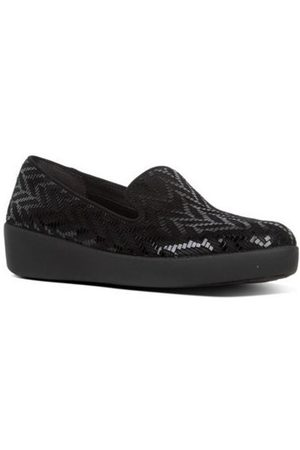 FitFlop Mocasines AUDREY CHEVRON-SUEDE - LOAFERS - BLACK para mujer