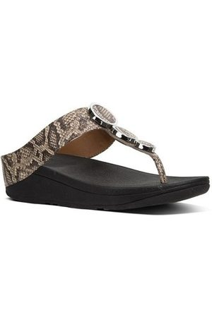 FitFlop Chanclas HALO TM TOE THONG SANDALS - TAUPE SNAKE para mujer