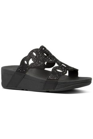 FitFlop Sandalias ELORA CRYSTAL SLIDES - ALL BLACK para mujer