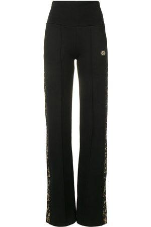 Philipp Plein Mujer Pantalones anchos y harén - Pantalones anchos con ribete con motivo de leopardo
