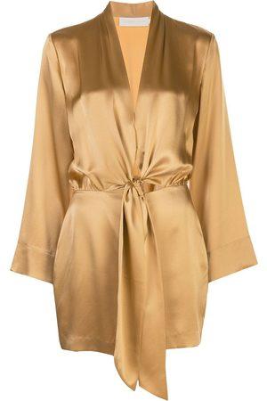 Michelle Mason Vestido corto estilo kimono lazado