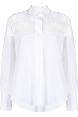 VALENTINO Camisa con panel translúcido de manga larga