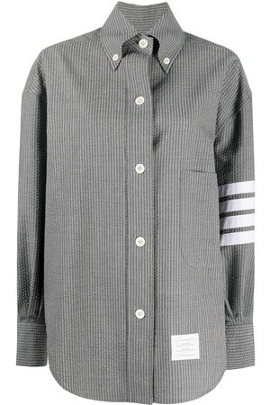 Thom Browne Camisa a rayas con efecto arrugado