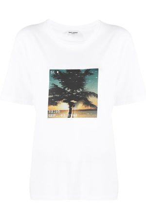 Saint Laurent Mujer Tops - Camiseta con estampado de palmeras