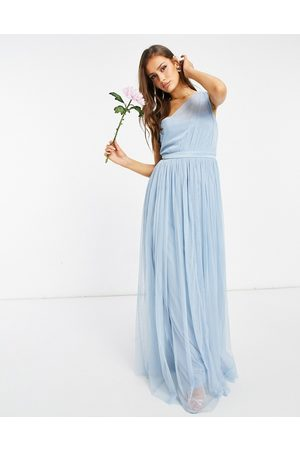 ANAYA Vestido largo asimétrico de dama de honor de tul de With Love Plus