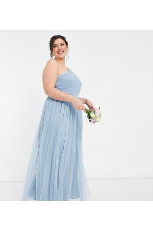 ANAYA Mujer Asimétricos - Vestido de dama de honor largo asimétrico de tul de Anaya With Love Plus