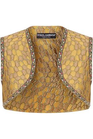Dolce & Gabbana Mujer Chalecos - Jacquard-woven cropped gilet