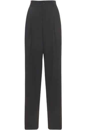 SAINT LAURENT | Mujer Pantalones Anchos De Lana Grain De Poudre 34