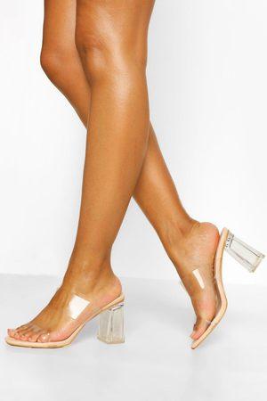 Boohoo Mujer Sandalias - Sandalias Mule Con Tacón Transparente, Color Carne
