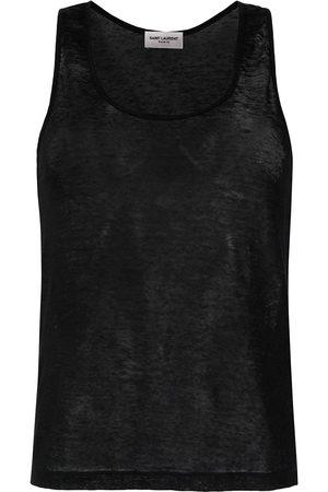 Saint Laurent Mujer Tops - Camiseta sin mangas de lino