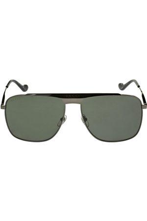 Gucci Hombre Gafas de sol - | Hombre Gg0909s Squared Pilot Metal Sunglasses /grey Unique