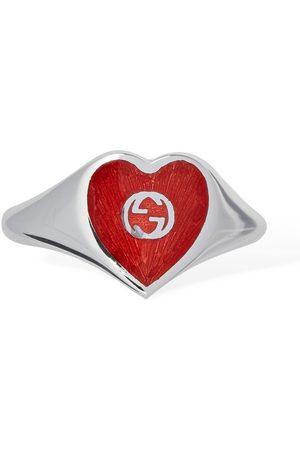 Gucci | Mujer Anillo Con Corazón Esmaltado Y G Entrelazadas /rojo 12