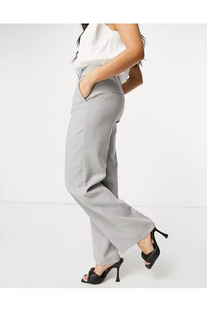Selected Pantalones grises de pernera ancha de Femme
