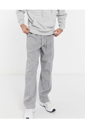 ASOS DESIGN Joggers grises de vestir de pernera ancha con diseño crosshatch de