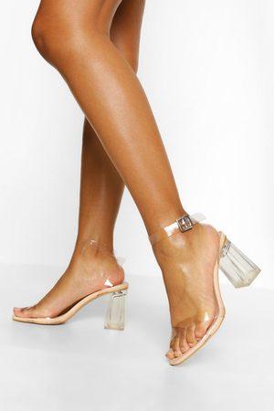 boohoo Zapatos De Tacón De Dos Piezas Transparentes, Color Carne
