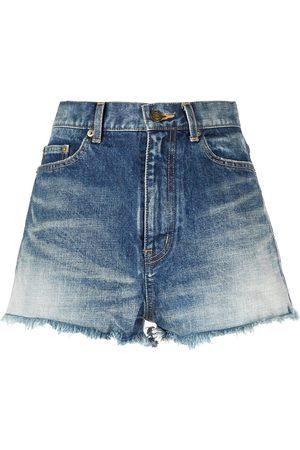 Saint Laurent Pantalones vaqueros cortos de talle medio