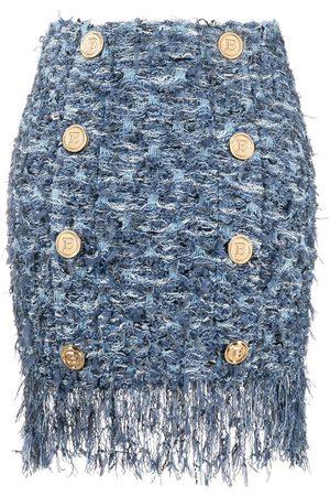 Balmain Falda de tweed con flecos