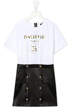 Balmain Kids Vestido estilo camiseta con panel de falda