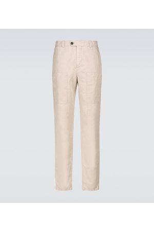 Brunello Cucinelli Pantalones cargo de lino y algodón