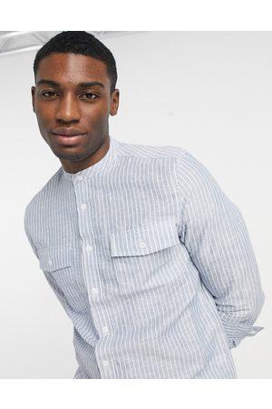 ASOS Camisa a rayas de corte estándar con cuello mao de mezcla de lino de