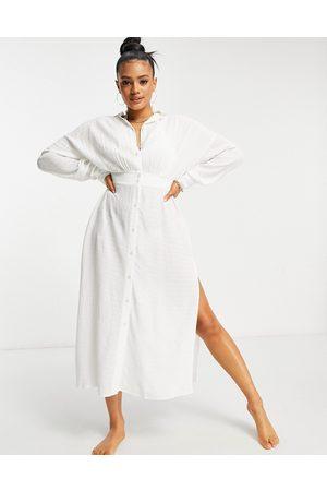 ASOS Vestido camisero playero largo abotonado texturizado de -Blanco