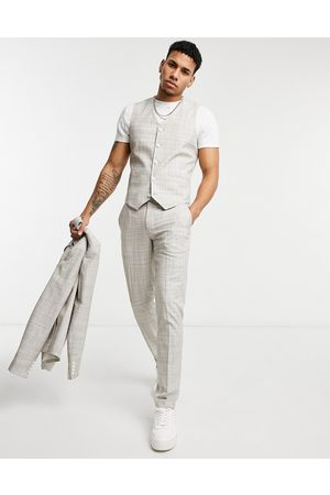 ASOS Pantalones de traje pitillo color piedra con patrón crosshatch de wedding