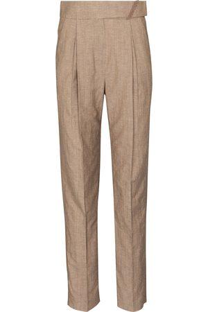 Brunello Cucinelli Pantalones rectos de lana y lino
