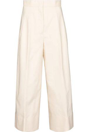 Jil Sander Mujer Pantalones anchos y harén - Pantalones de gabardina de algodón