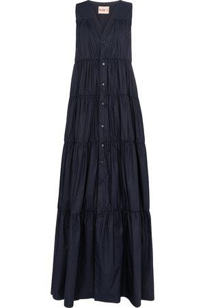 Plan C Mujer De manga larga - Vestido largo de algodón sin mangas