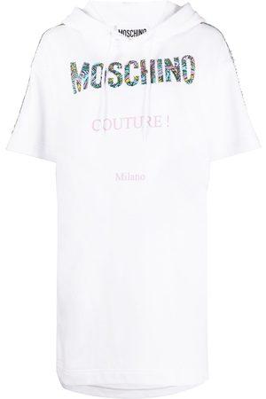 Moschino Vestido con capucha y parche del logo