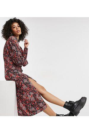 Topshop Mujer Casual - Vestido midi con detalle fruncido en el delantero y estampado floral de