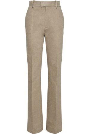 Bottega Veneta | Mujer Pantalones Rectos De Lona De Lino Stretch 36