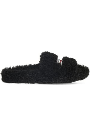 Balenciaga | Hombre Political Logo Furry Slide Sandals 39