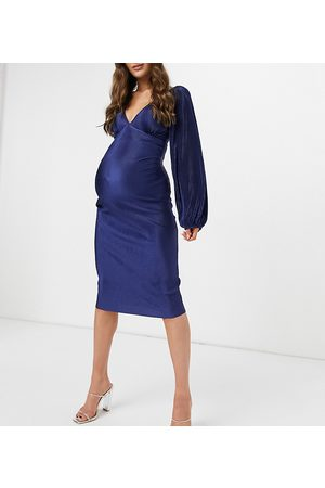 ASOS Vestido midi plisado con mangas globo para fiesta prenatal de ASOS DESIGN Maternity