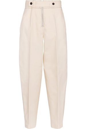Jil Sander Pantalones de algodón de tiro alto