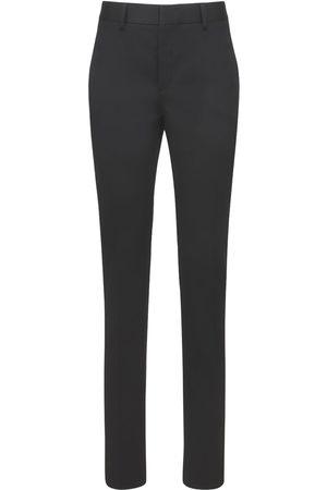 Saint Laurent | Mujer Pantalones Pierna Recta De Lana Con Cinturón 34