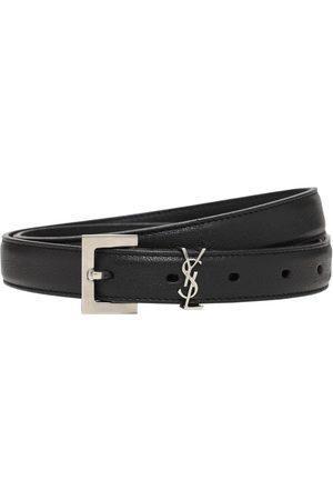 Saint Laurent | Hombre Cinturón Fino De Piel Con Logo 2cm 85