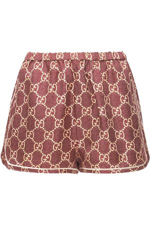Gucci | Mujer Shorts De Sarga De Seda Con Logo Estampado Xxs