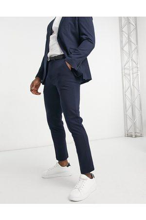 Selected Pantalones de traje azules marino de corte slim de punto de -Azul marino