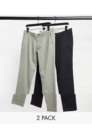 Jack & Jones Pack de 2 chinos tapered de corte slim negros y oliva polvoriento de Intelligence-Multicolor