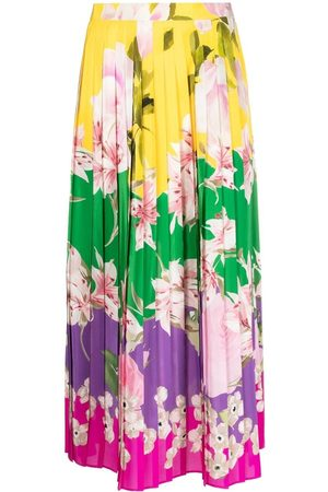 VALENTINO Falda midi floral con pliegues