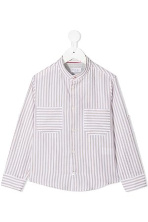 Brunello Cucinelli Camisa con motivo de rayas