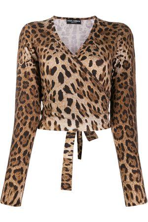 Dolce & Gabbana Jersey cruzado con estampado de leopardo